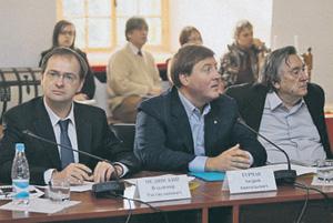Министр В.Р.Мединский, губернатор А.А.Турчак, писатель А.А.Проханов на первом заседании Изборского клуба